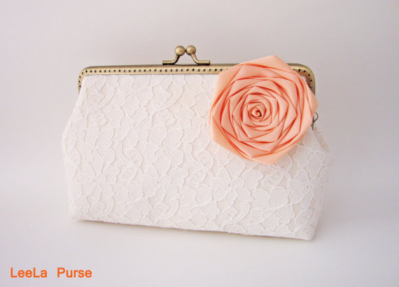 Wedding - Vintage bridal Inspired clutch - Lace Clutch with Detachable orange Flower Brooch (Choose your color) / rustic shabby chic wedding
