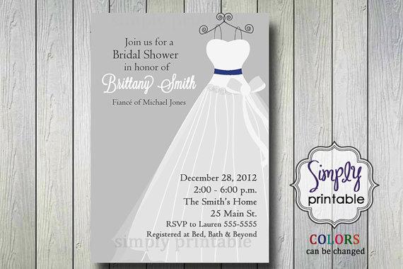 Silver wedding dress bridal shower invitation printable digital silver wedding dress bridal shower invitation printable digital file filmwisefo