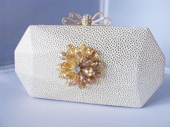 Hochzeit - SALE Light Gold Fabric Wedding Bag Clutch Formal Evening Bag with Crystal Flower Accent