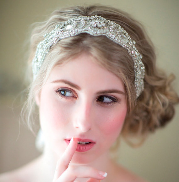 Wedding - Bridal Ribbon Headband, Rhinestone Ribbon Headband, Wedding Head Piece, Wedding Hair Accessory
