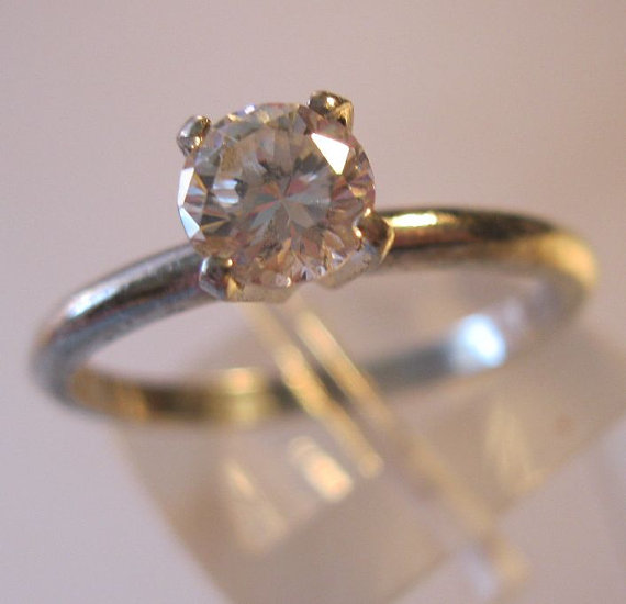 Mariage - Vintage 1/2ct CZ Solitaire Engagement Ring Sterling Silver Size 7 Jewelry Jewellery FREE SHIPPING