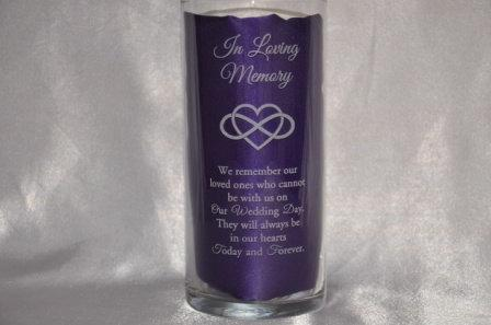 Wedding - Engraved Glass Wedding/Memorial Candle Holder/Vase - Two Sizes Available (#22)