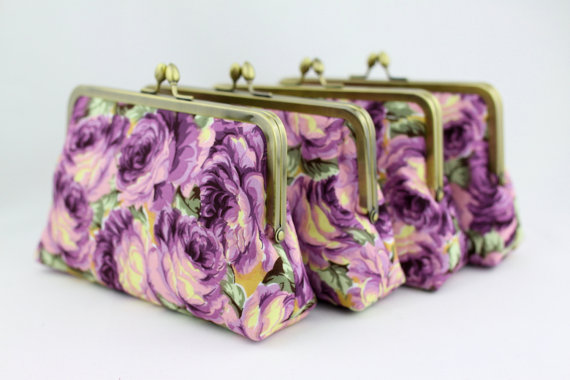 Mariage - Gorgeous Purple Rose Bridesmaid Clutches / Wedding Purses / Floral Bridesmaid Purse Clutch - Set of 6