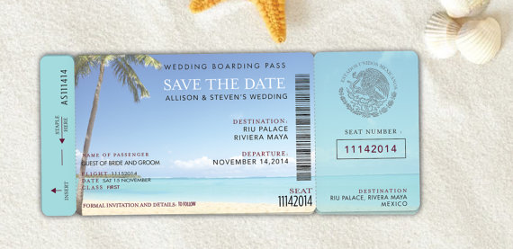 Boarding Pass Save The Date, Destination Wedding Invitation ...