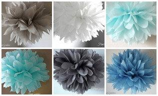 Baby Boy Nursery Elephant 1st Birthday Party Decor Blue Gray White 8 Tissue Paper Poms