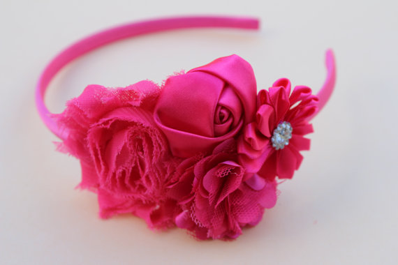 Boda - hot pink girls headband plastic headband flower girl headband wedding hot pink headband Easter plastic headband wedding headband