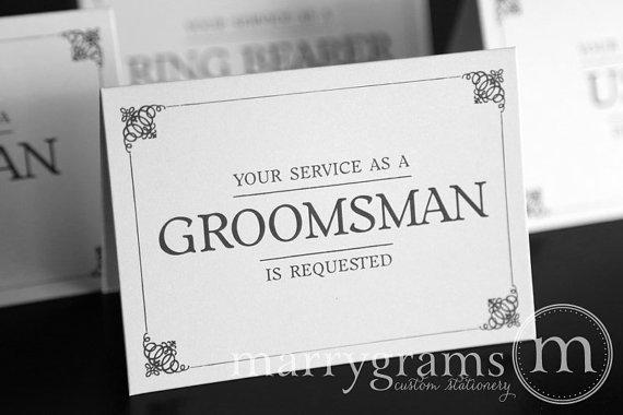 زفاف - Groomsman Service is Requested Card, Best Man, Usher, Ring Bearer- Simple Wedding Cards for Guys to Ask Groomsmen, Bridal Party (Set of 5)