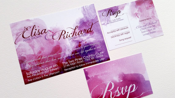Mariage - Watercolor wedding INVITATION SET - Modern wedding invitation design