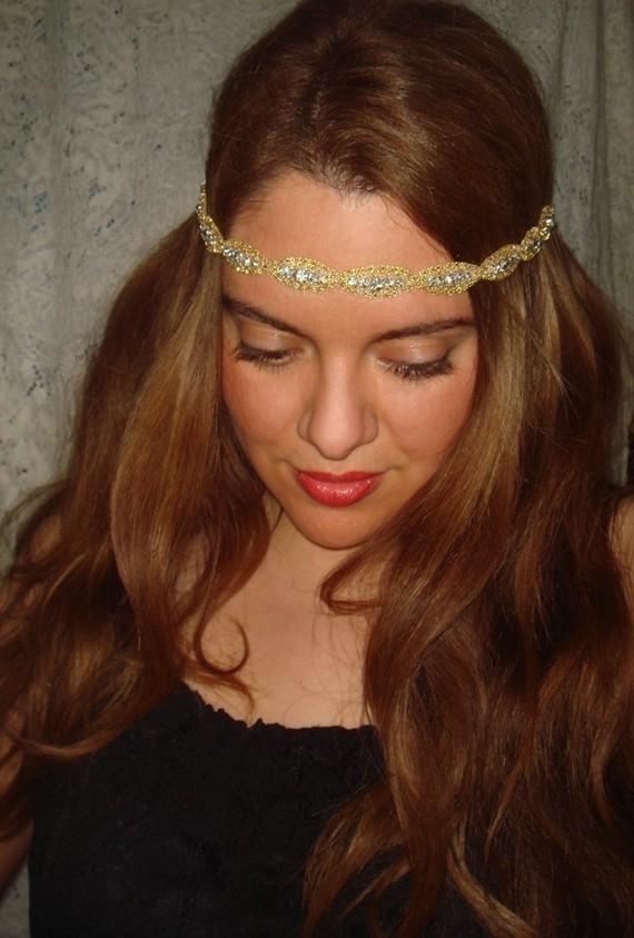 Mariage - Accessories, Rhinestone Headband- Ahena, Headband, Halo headband, wedding, bridal accessories, New Year's, gold headband, hot pink, hair