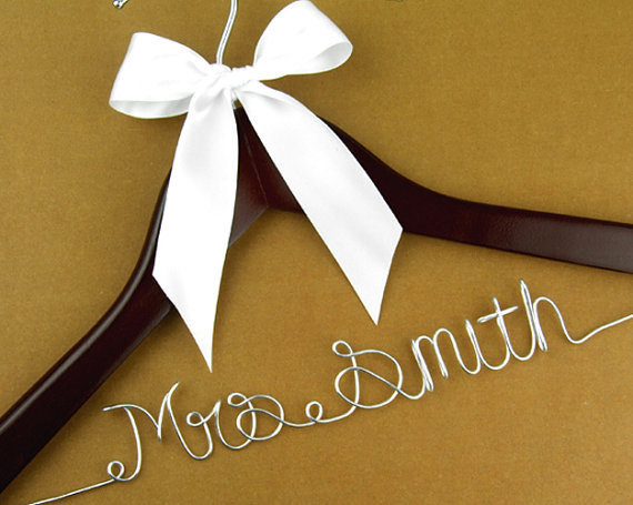 Wedding Hanger Personalized Bridal Wire Name Bride Bridesmaid Gift