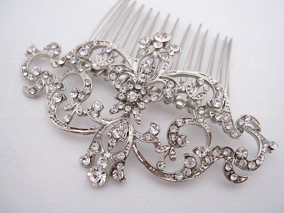 Mariage - Crystal wedding comb,rhinestone bridal hair comb,Vintage Inspired bridal comb,wedding headpieces,bridal hair accessories,wedding hair comb