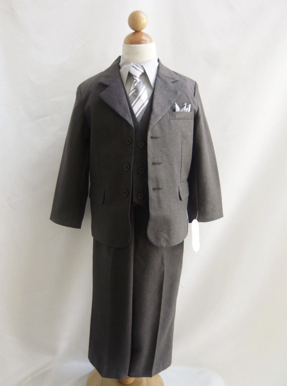 Wedding - Charcoal Grey Suit with Formal Stripe Long Tie for Toddler Baby Ring Bearer Easter Communion (Style 2)