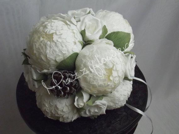 Свадьба - Bridal bouquet,wedding bouquet,paper flower bouquet,flower paper, white peonies paper,bouquet paper peony.