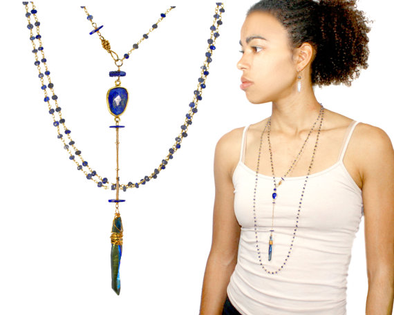 Свадьба - Sept. birthstone Wrappable necklace. Lapis lazuli, iolite and peacock blue quartz point. wh  pendant.. Indigo MimsyB.