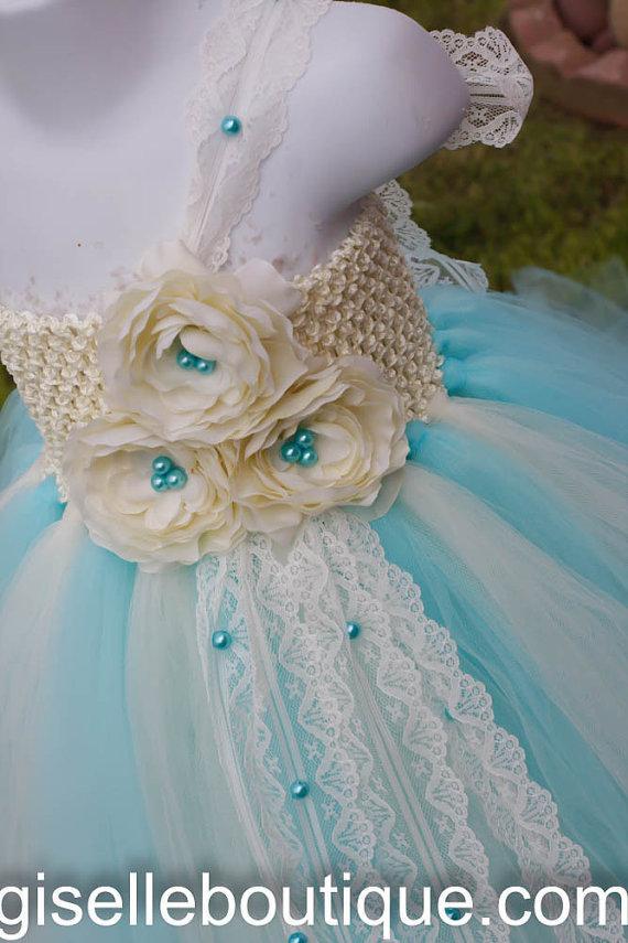 Tiffany Blue With Ivory Flowers Tutu Dress. Wedding. Flower Girl ...