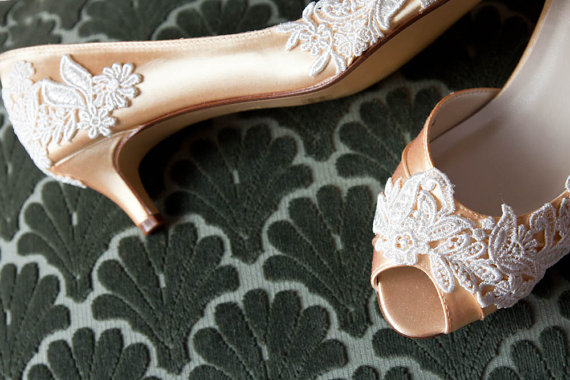 Wedding - Wedding shoes peep toe low heel and high heel bridal shoes embellished with floral ivory Venice lace