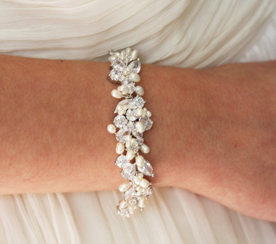 Wedding Jewelry Rhinestone Freshwater Pearl And Swarovski Crystal Bridal Bracelet