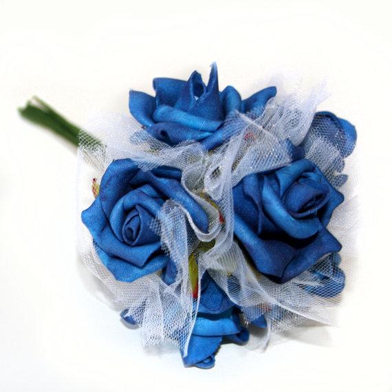 Hochzeit - 1 Blue Rose Bouquet Bouquet - Artificial Flowers, Silk Flowers