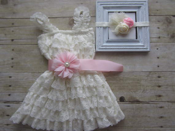 Wedding - Baby Girl 1st Birthday Outfit...Lace Dress..Flower Girl Dress..Birthday Dress..Girl Dress..Pink and Ivory..Newborn Girl Take Home..Baby Girl