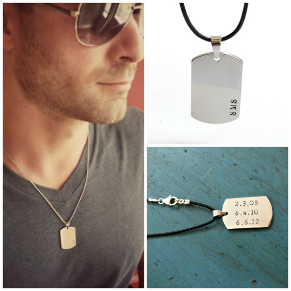 Hochzeit - Mens Dog Tag Necklace Mens Jewelry Personalized Mens gift Groomsmen Gift Grooms Gift Dad Fathers Gift