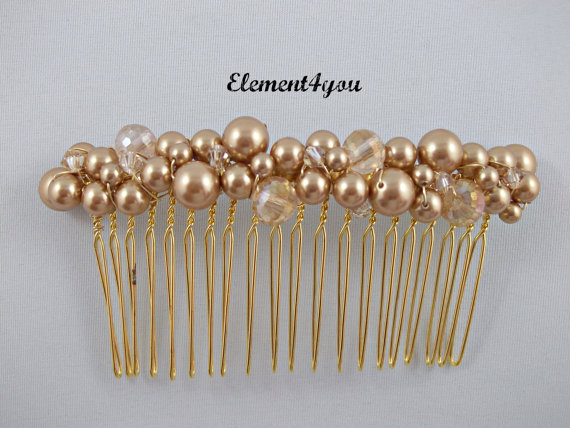 Mariage - Bridal comb,  Gold pearl hair comb, Hair Accessories, Wedding hair piece, Beaded champagne gold comb, Veil attachment , Fascinator