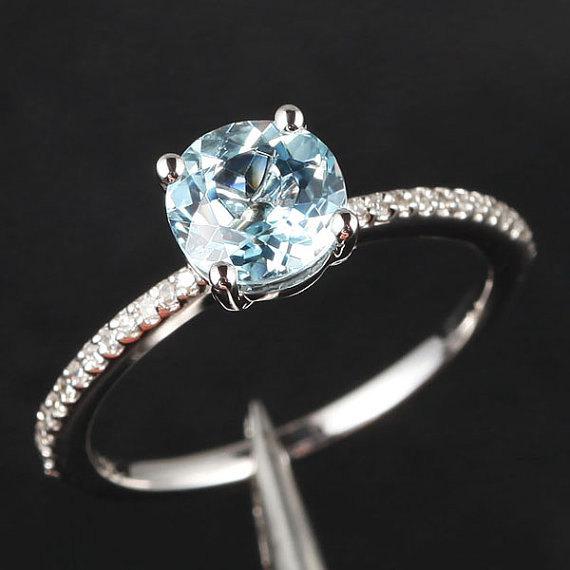 Свадьба - 14K White Gold  Engagement Ring SI Diamond Ring,6.5mm Aquamarine/Peridot/Amethyst/Topaz/Garnet/Morganite/Moissanite/Pearl/Citrine/Tourmaline