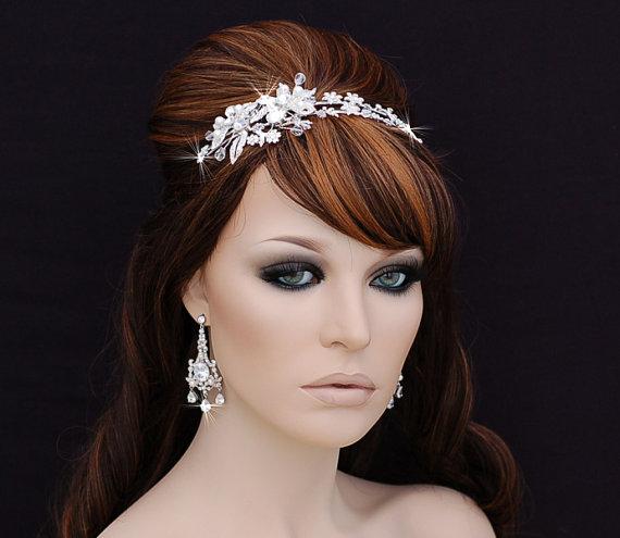 Mariage - Crystal Headband , Bridal Headpiece , Bridal Hair Accessory , Wedding Headband , Swarovski Crystal Bachelorette Headband