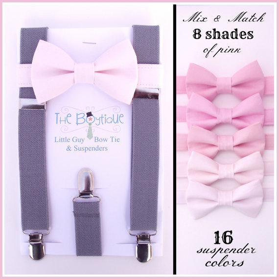 Blush Bow Tie And Grey Suspenders Toddler Baby Ring Bearer Pale Pink Soft Light