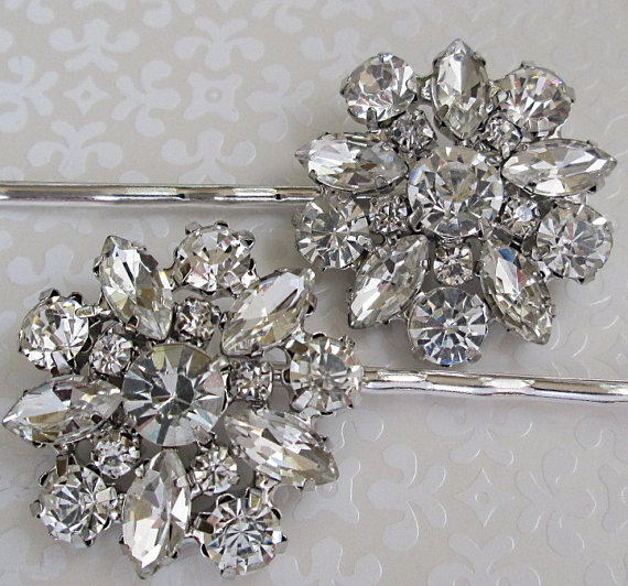 Wedding Hair Pins, Crystal Bobby Pins, Bridal Accessories, Silver ...