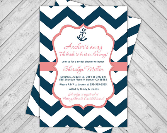 Navy And Coral Wedding Shower Invitations Nautical Bridal Shower
