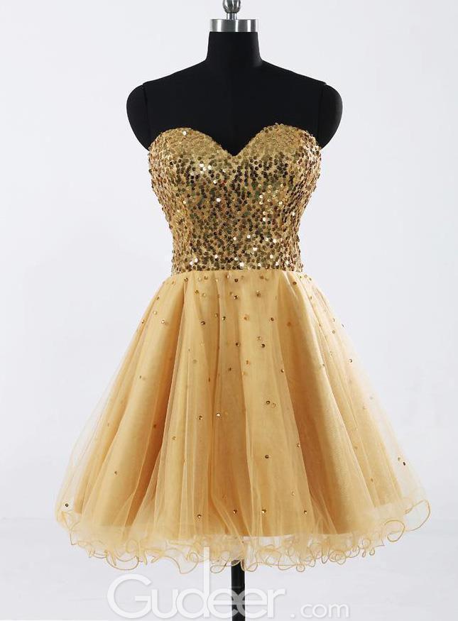 Mariage - Modern Gold Sequin Strapless Sweetheart Bridesmaid Dress