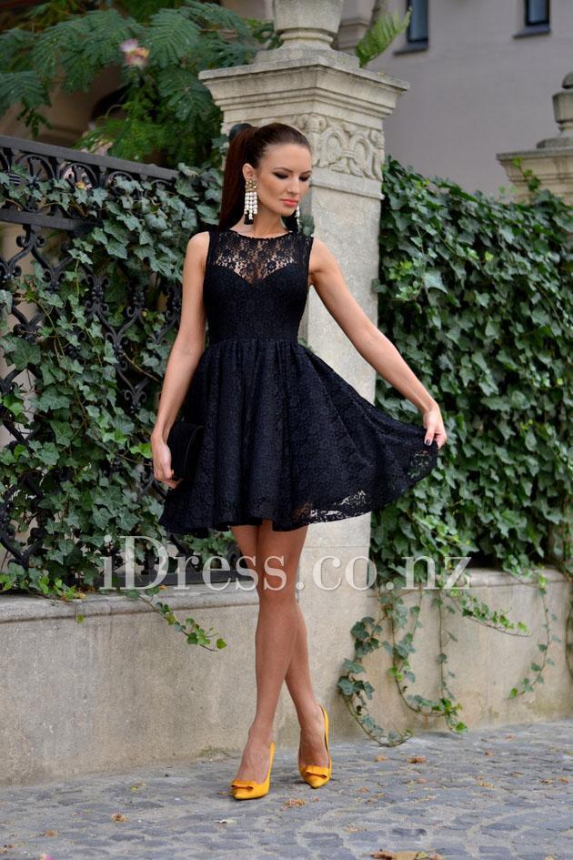 Wedding - Navy Boat Neck Sleeveless Printed Lace Short Prom Dress