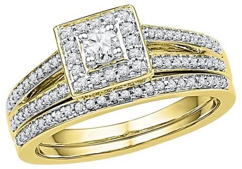 Свадьба - 1/2 CT. T.W. Round Diamond Prong Set Bridal Ring in 10K Yellow Gold (I2-HI)