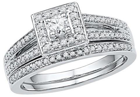 Свадьба - 1/2 CT. T.W. Round Diamond Prong Set Bridal Ring in 10K White Gold (I2-HI)