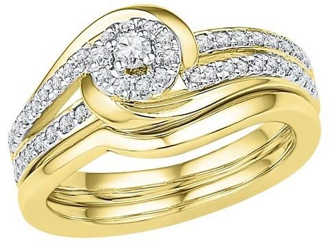 Свадьба - 1/4 CT. T.W. Round Diamond Prong Set Bridal Ring in 10K Yellow Gold (I2-HI)