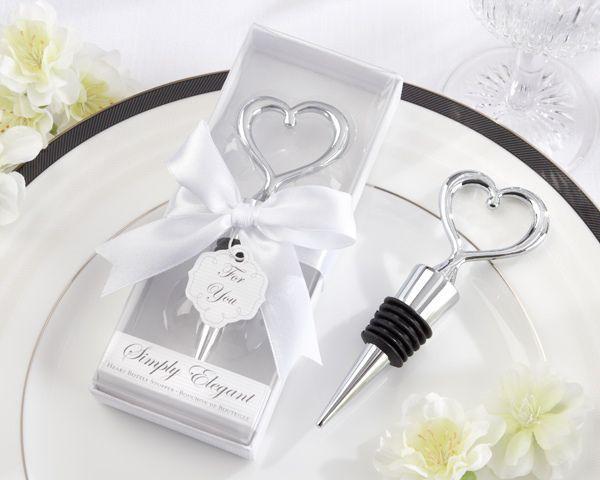 Mariage - Chrome Heart Bottle Stopper Wedding Favor