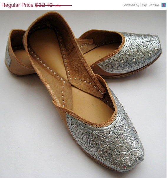 VALENTINE DAY SALE 20% Silver Sequin Bridal Ballet Flats   Wedding Shoes Handmade  Indian Designer Women Shoes or Slippers Maharaja Style Wom 93e334f3f