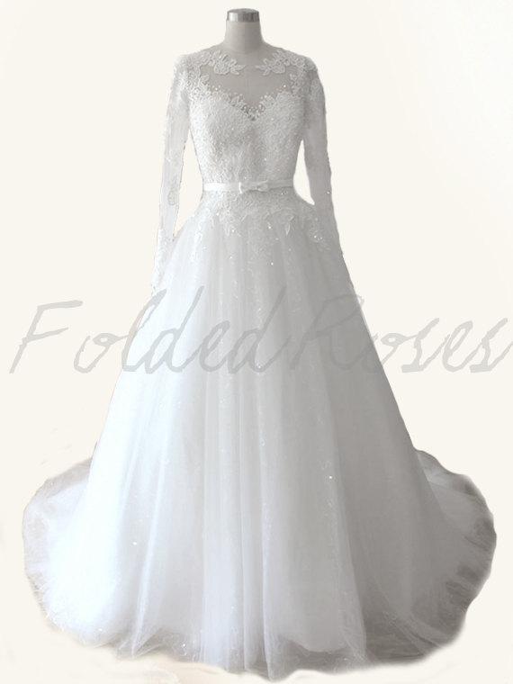 Wedding - lace wedding dress long sleeve wedding dress, wedding gown bridal gown custom order wedding dress : VERA Lace Gown Custom Size