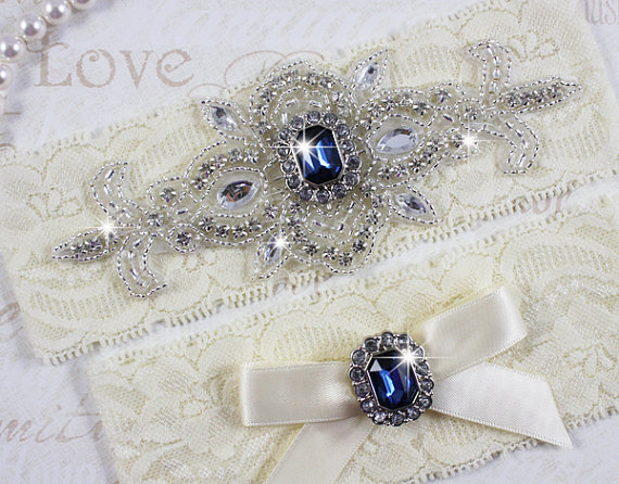 Свадьба - MADRID II - Sapphire Blue Wedding Garter Set, Ivory Lace Garter, Rhinestone Crystal Bridal Garters, Something Blue