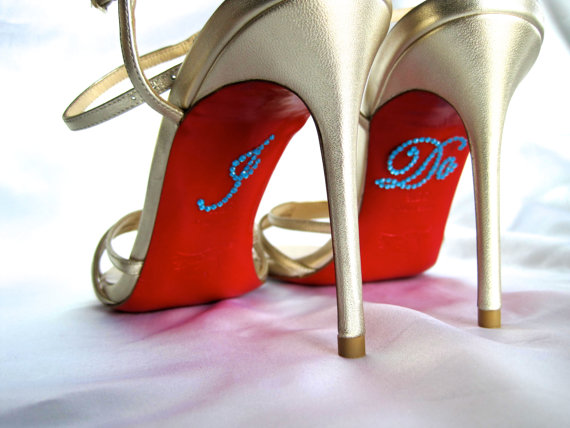 Mariage - I Do Shoe Stickers. RhinestoneI Do Applique for Shoes. Wedding Shoe Stickers. I Do Decals. Just Married. Wedding Favors.