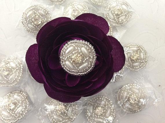 زفاف - 25 Rhinestone Buttons  Pearl Rhinestone, Wedding Button, Rhinestone Pearl Bouquet