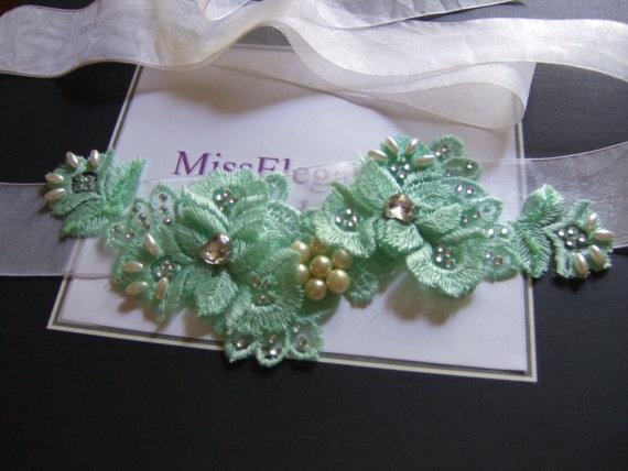 Hochzeit - Wedding bridal Sash, Prom dress Green belt,  bridal accessory, ribbon belt Crystal rhinestone Embrodered lace  rose romatic vintage inspired