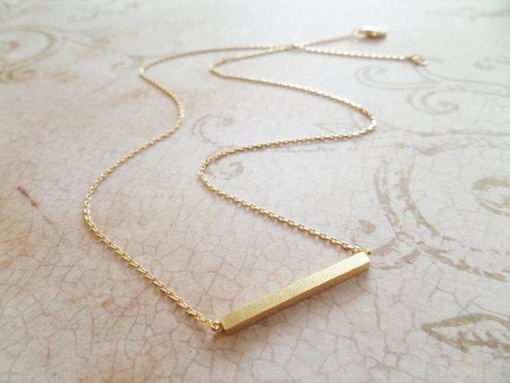 Свадьба - Gold bar necklace...dainty handmade necklace, everyday, simple, birthday, wedding, bridesmaid jewelry