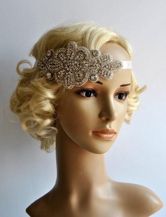 Hochzeit - Crystal Headband,Rhinestone flapper Gatsby Headband, Wedding Bridal Headband  Headpiece, Halo Bridal Headpiece, 1920s Flapper headband