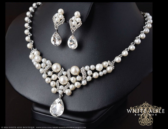 Pearl Bridal Statement Necklace Wedding Jewelry Set Back Drop