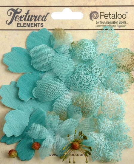 "Свадьба - NEW: Petaloo Textured Col ""Teal "" Mixed Textured Layers. Vintage Style Rustic Fiber Mesh Fabric flowers (12pcs). Wedding / Decorations"
