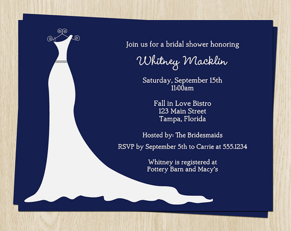 Mariage - Wedding Shower Invitations Blue, White Wedding Dress, Gray Sash, Set of 10 Cards, FREE Shipping, SGACN,  Simple Gown Autumn Collection Navy