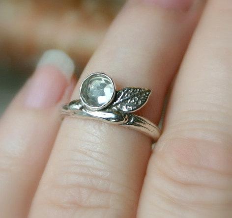 زفاف - Branch Ring...Sterling Silver Band with Green Amethyst Prasiolite...Engagement Wedding Promise