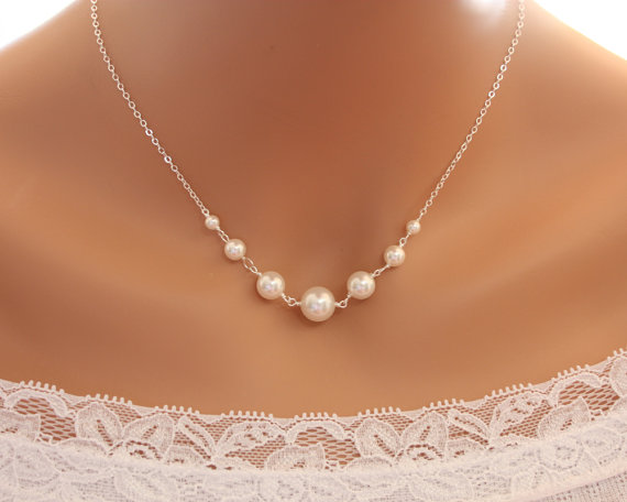Elegant Pearl Necklace Sterling Silver Wedding Bridal Jewelry