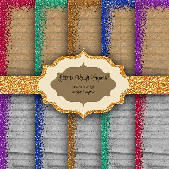 Mariage - GLITTER Border Digital Paper Pack -  Glitter pattern kraft lined backgrounds for scrapbooking, wedding invitations, baby/bridal shower